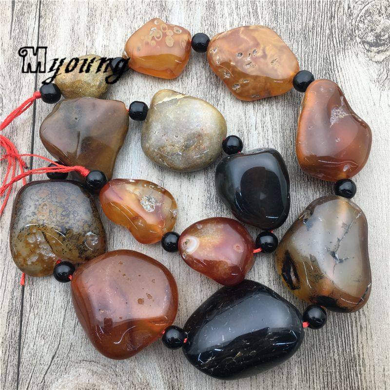 Polished Brown Agates Loose Nugget Beads large Mix size agates Quartz Space Beads For Jewelry MY1779