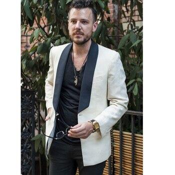 New men's suit beige shawl lapel casual groom custom beach dress men's tuxedo 2 coat + pants slim suit