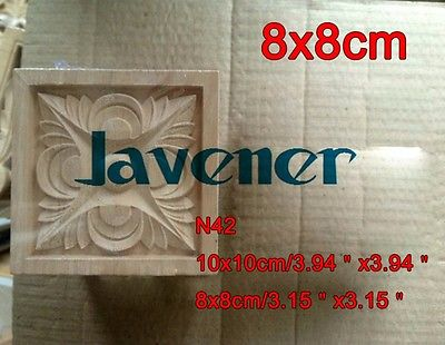N42 -8x8cm Wood Carved Long Square Applique Flower Frame Door Decal Working Carpenter Decoration