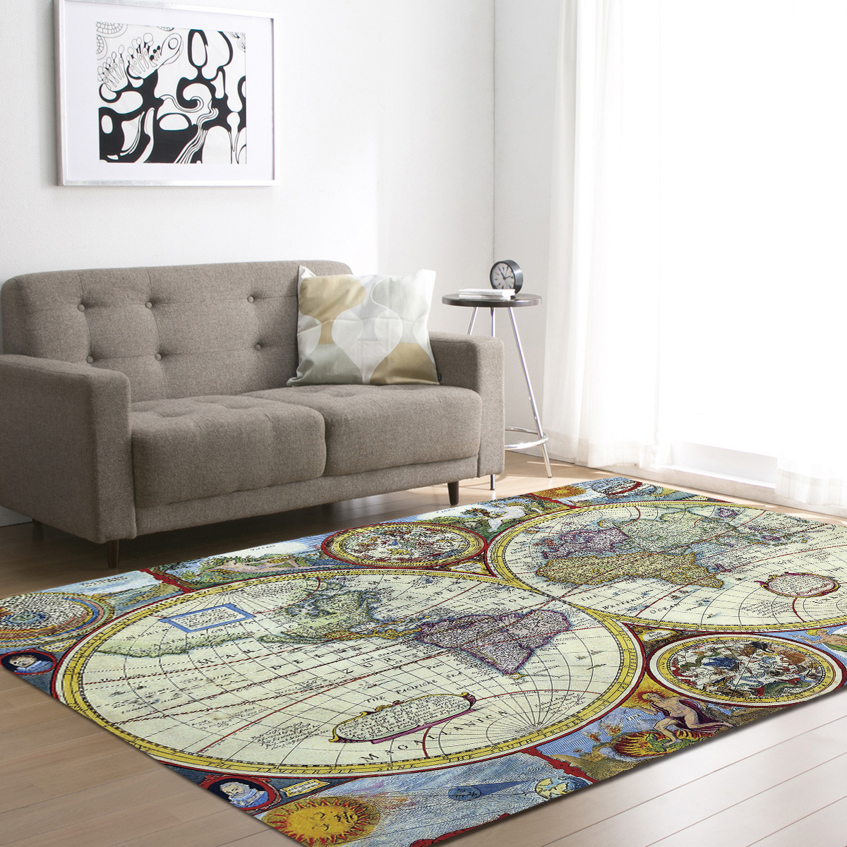 Zeegle World Map Floor Mat Carpets For Living Room Anti Slip Office