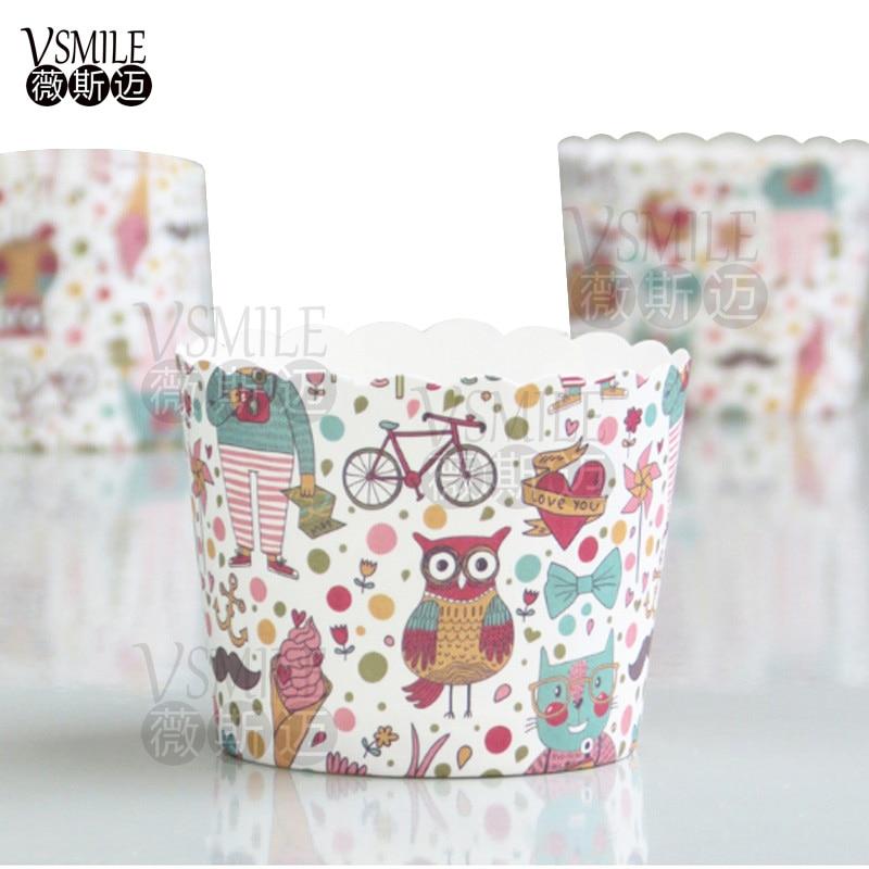 100 St Uil Windmolen Hart Olifant Witte Stippen Katten Dinosaurus Vlinder Bloemen Dieren Aap Muffin Cupcake Papier Bakken Cake Cup