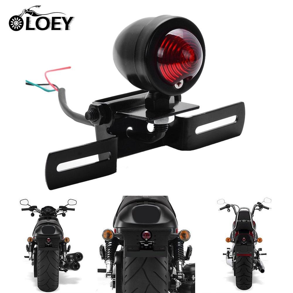 Motorcycle Tail Light Retro PC Lens Brake Lamp Stop Light License Plate Holder 12v Universal Fits Moto Chopper Cruiser Bobber