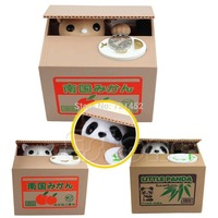 Lovely Cat Panda Itazura Automated Kitty Cat Steal Coin Savings Box Piggy Bank