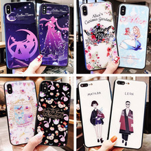 Tempered glass cartoon anime mobile phone case for iPhone X XS XR XSMax 876 6S PluS new creative anti-fall protection back cover