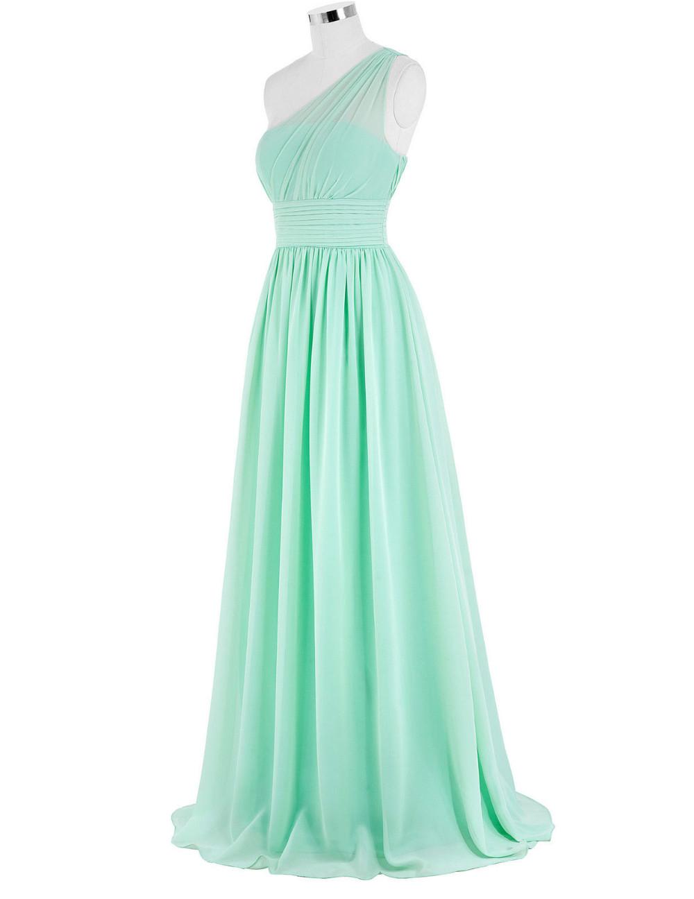 Kate Kasin Mint Green Bridesmaid Dresses Long Wedding Party Dresses One Shouler Bruidsmeisjes Jurk Pink Bridemaid Dress 0200 8