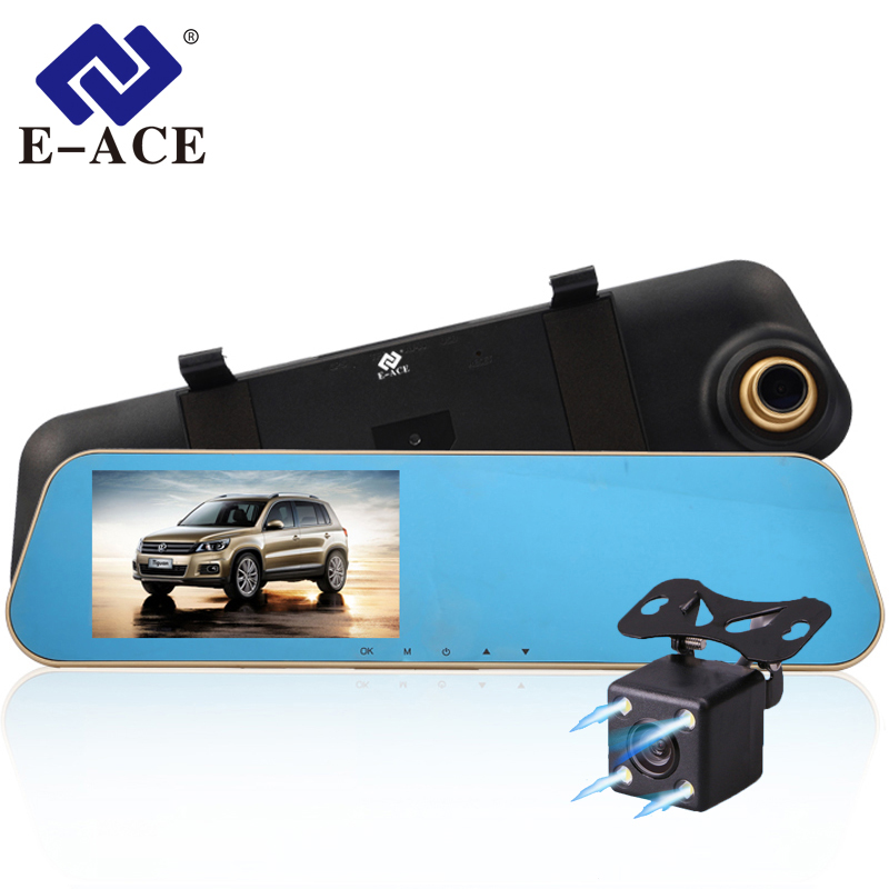 E-ACE Car Dvr Auto Digital Video Recorder Rear View Mirror With Camera FHD 1080P Dashcam Dual Lens Parking Monitor Registrator
