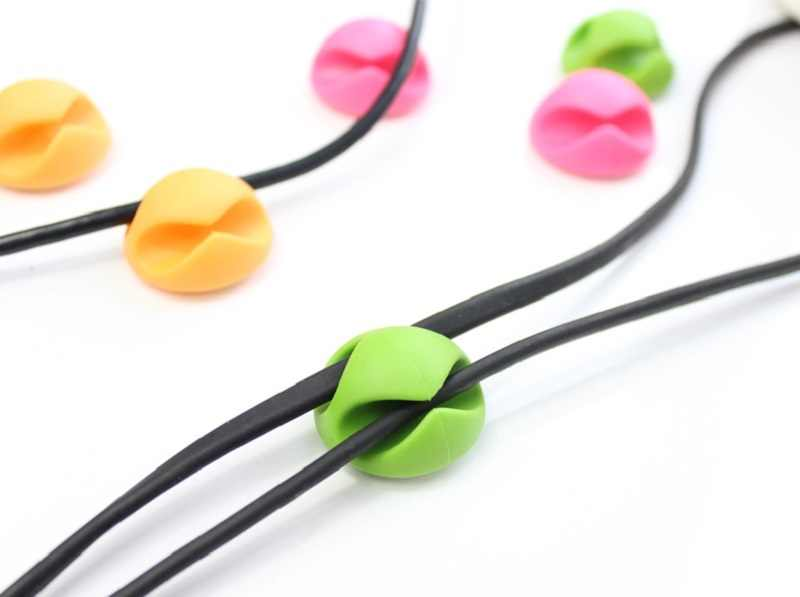 Round Clip phone Cable Winder Bobbin clamp protector Earphone Ties Organizer Wire Cord Fixer Holder Collation Management