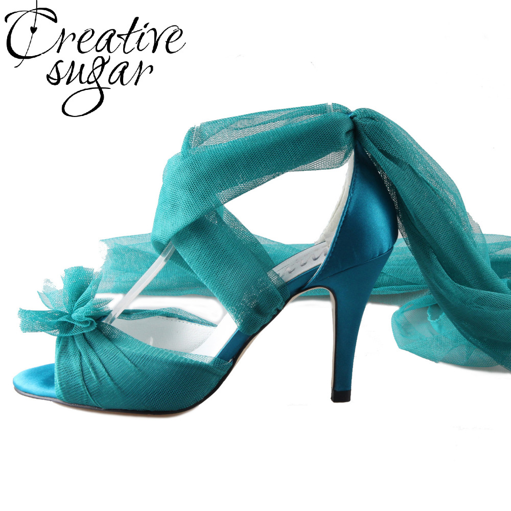 Creativesugar Handmade teal peacock blue long tulle bridal shoes soft gauze leg strap forest fairy tale wedding party lady pumps creativesugar handmade teal peacock blue long tulle bridal shoes soft gauze leg strap forest fairy tale wedding party lady pumps