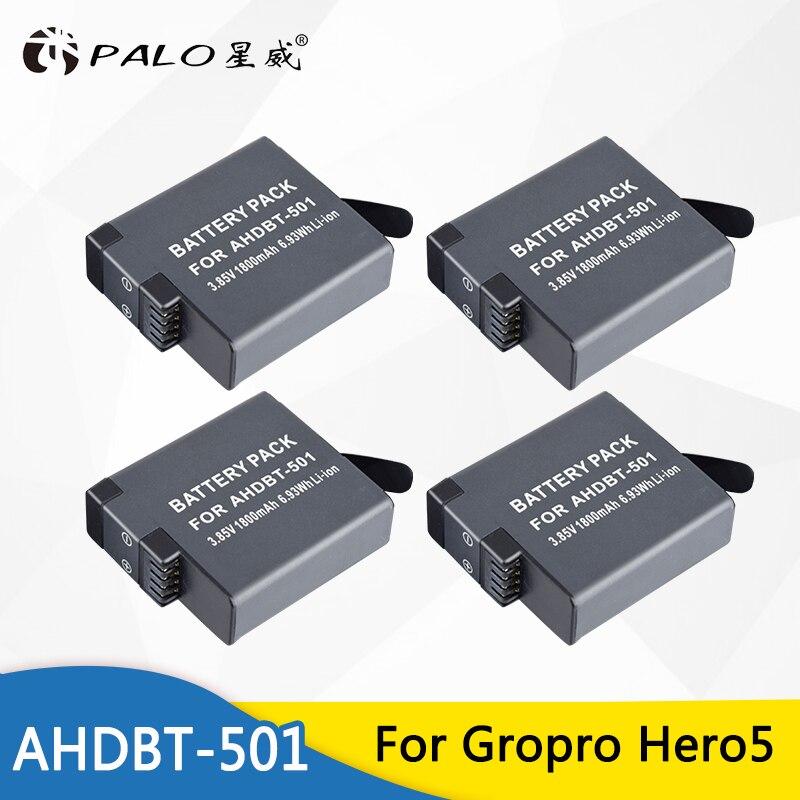 Palo 4 pcs 1800 mah AHDBT-501 AHDBT501 AHDBT 501 Gopro Hero 5 Batterie Appareil Photo Batterie Rechargeable Pour Gopro Hero 5 hero5 Aller pro