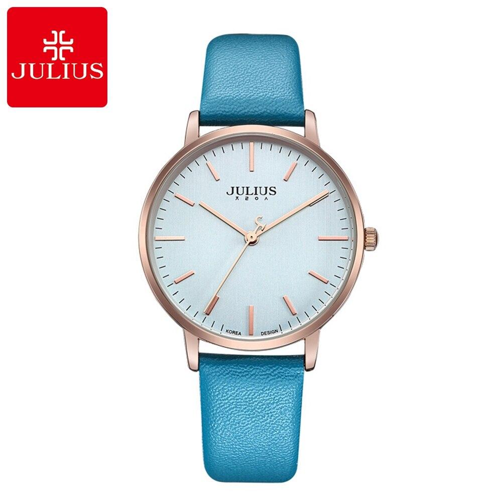 Ultrathin Classic Simple Women Fashion Casual Quartz Watch Ladies Luxury Leather Strap Watches Original Famous Brand Julius 922 247 classic leather
