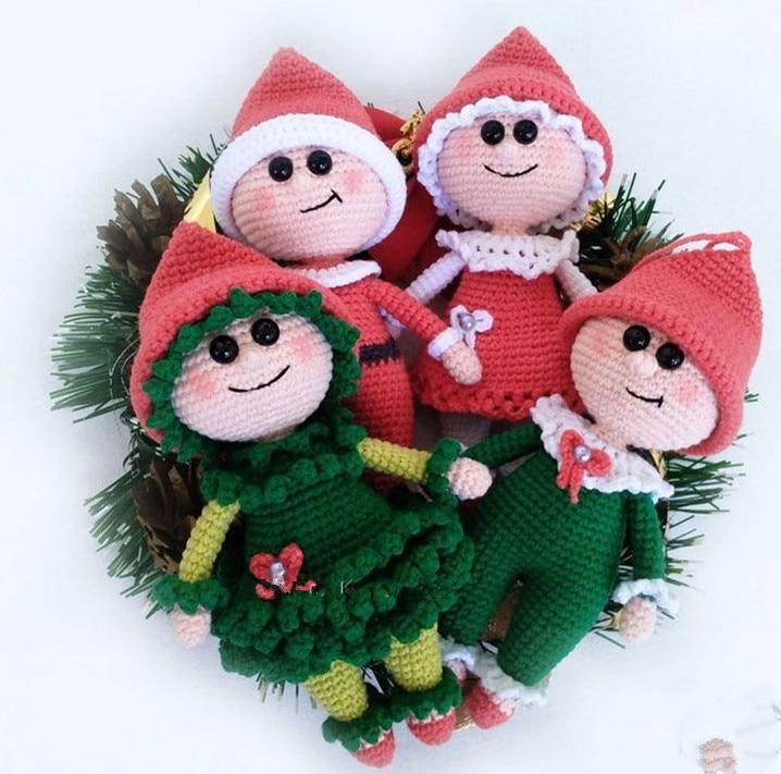 Crochet Toys  Amigurumi  Handmade Christmas  Girls   Rattle  Doll   Model  Number  ES0123
