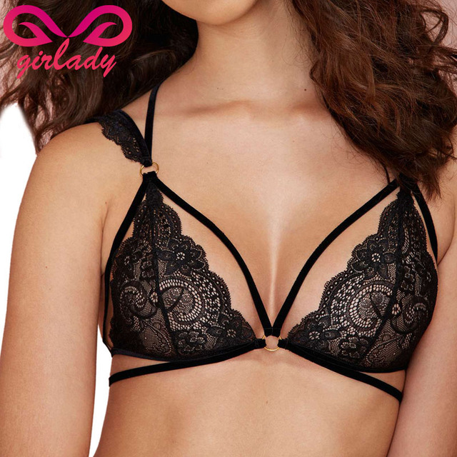 bdcb48428dc44f GIRLADY Women Lace Bralette Black Strappy Halter Brassiere Balconette Sexy  Mesh Quarter Cup Lingerie Bra With Straps Quality