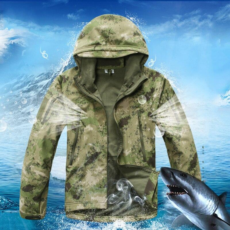 Shark Skin Softshell Jacket Men Green Camouflage Outdoor Jackets Waterproof Windproof Hunting Clothes Jaqueta Masculina  cube softshell jacket blackline