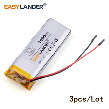 3pcs /Lot 3.7v lithium Li ion polymer rechargeable battery 1600mAh For E-book mobile power bank DIY Tablet PC 112560
