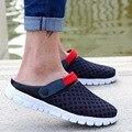 Los hombres de Malla Transpirable Sandalias de Playa de Verano Flip Flop Zapatillas Masculino Talón Plano Zapatos Casuales de Gran Tamaño