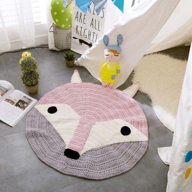 Animaux de bande dessinée tapis tissé à la main enfants rampant jouant des tapis tricotés couverture de bébé ronde INS enfants chambre décoration tapis de sol