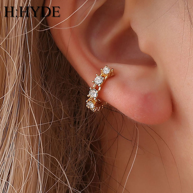 H:HYDE Gold Color Clip Earrings Without Ear Piercing Brinco Ear Cuff On Earrings For Women Crystal Jewelry boucle d oreille DY