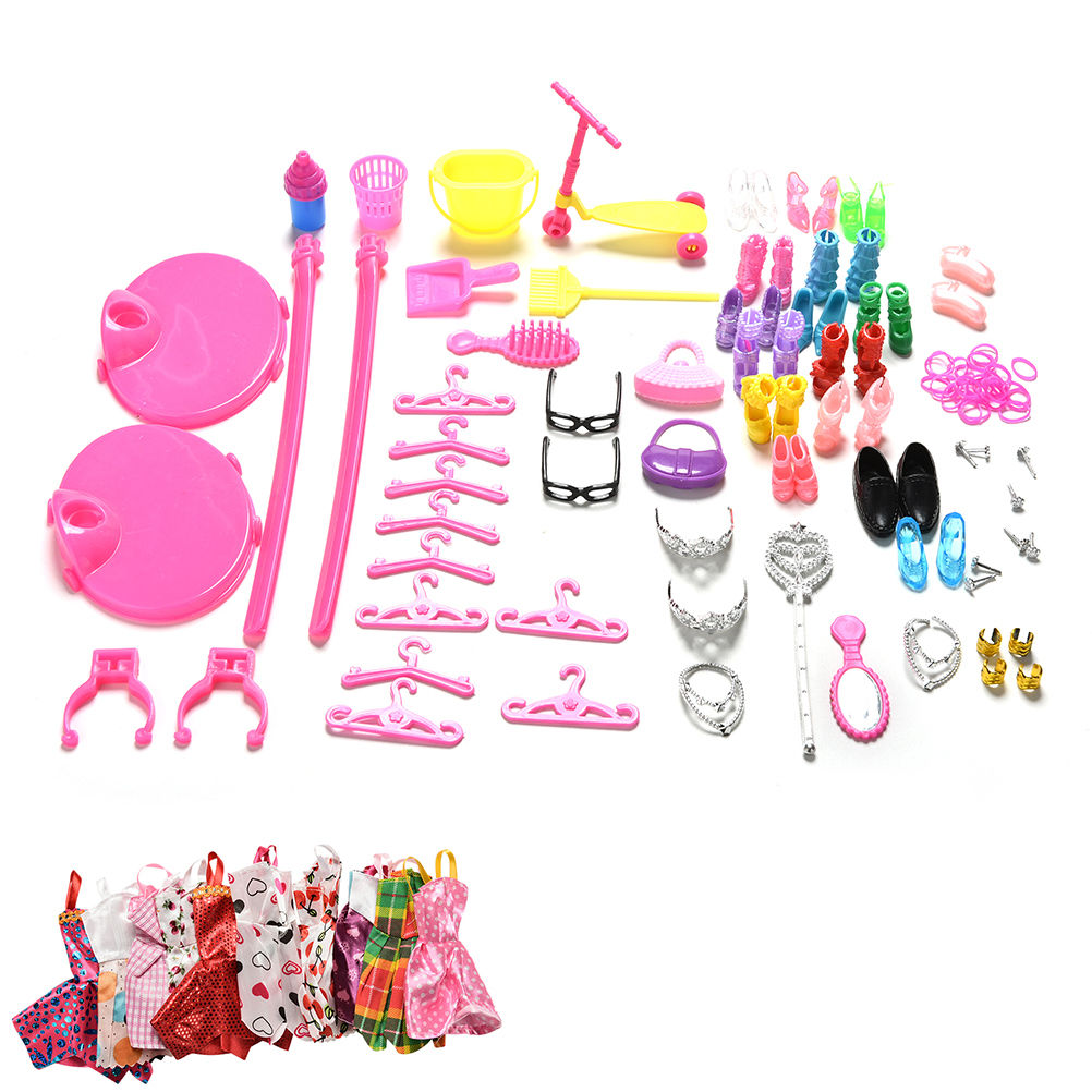 1 Set Hot Sale Shoes Bag Mirror Hanger Comb Furniture Dress For Barbie Dolls Accessories Set for Barbie Toys Child Gifts ...