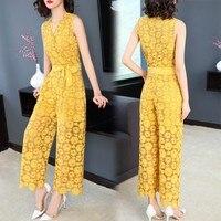 2018 summer new women yellow lace jumpsuit flower slim sleeveless wide leg pant bodysuits top quality