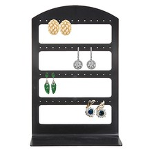 48 Lubang Perhiasan Organizer Stand Plastik Hitam Anting-Anting Pemegang Pesentoir Fashion Anting-Anting Rak Etagere(China)