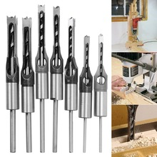 1/4 to 1/2 Inch Square Hole Drill Bit Steel Mortising Drilling Woodworking Tools