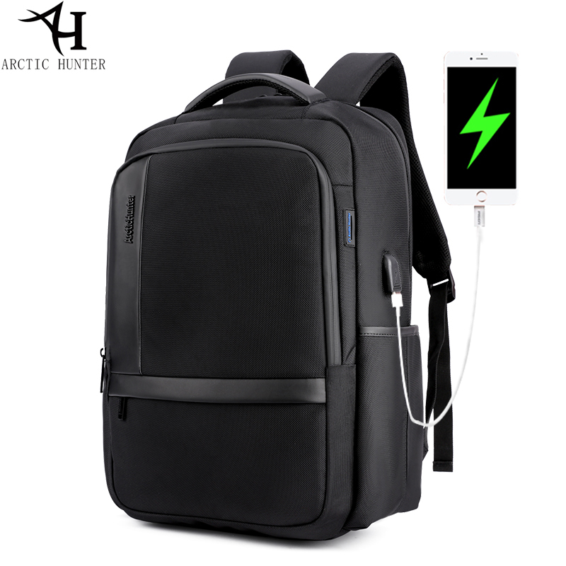 ARCTIC HUNTER Brand Men Backpack External USB Charging 15.6 inch Laptop Backpack Waterproof Casual College Student Computer Bag ozuko multi functional men backpack waterproof usb charge computer backpacks 15inch laptop bag creative student school bags 2018