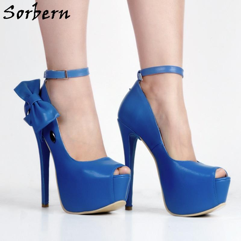 Sorbern Blue Ankle Strap With Bowknot Scarpe Donna Platform Peep Toe Women Pumps Extreme High Heels