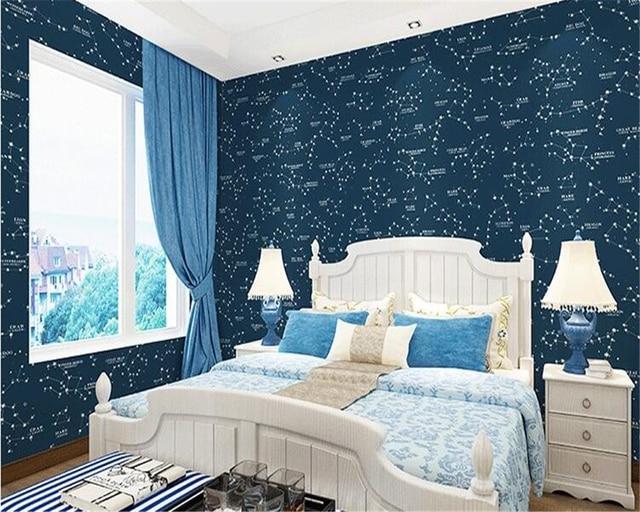bedroom dark boy children stars mediterranean beibehang boys wallpapers mouse