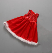 Christmas New Sequins Sleeveless Feather Dress Girl Girls Kids Cute European