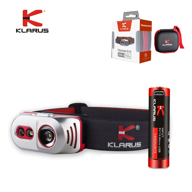 2017 KLARUS H1A Titanium Headlight 550LM Cree XP-L V6 LED Headlamp with USB Rechargeable by 14500 Battery fenix cree xp e2 r5 led 450lumens 4aa batteries headlamp headlight