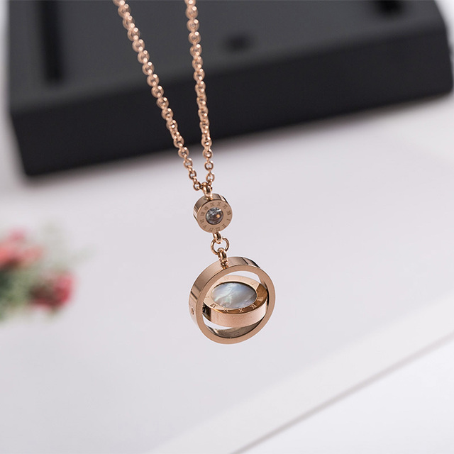Lady Jewelry Double Circle Roman Numeral Necklace For Women Turnable Black White Shell Pendent Necklace Jewelry Party K0030 3