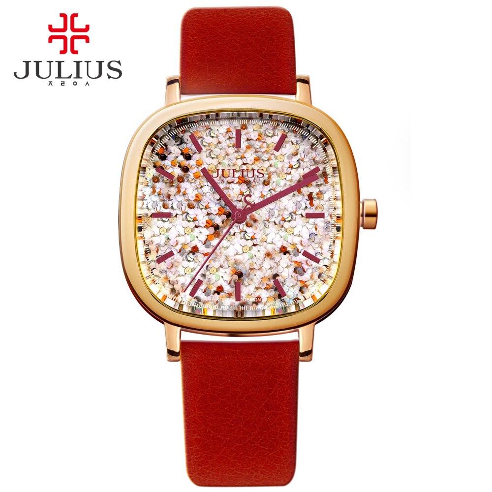 JULIUS Women Watch Luxury Brand With Logo Square Teenage Girls Watches Leather Strap Korean Designer wristwatch