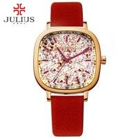 Juliusผู้หญิงนาฬิกาแบรนด์หรูที่มีโลโก้ตารางสาววัยรุ่นนาฬิกาสายหนัง