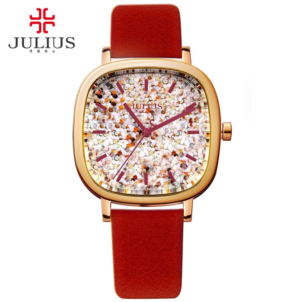 Reloj de mujer JULIUS marca de lujo con Logo cuadrado para chicas adolescentes relojes correa de cuero diseñador coreano reloj de pulsera joyería JA 889-in Relojes de mujer from Relojes de pulsera    1