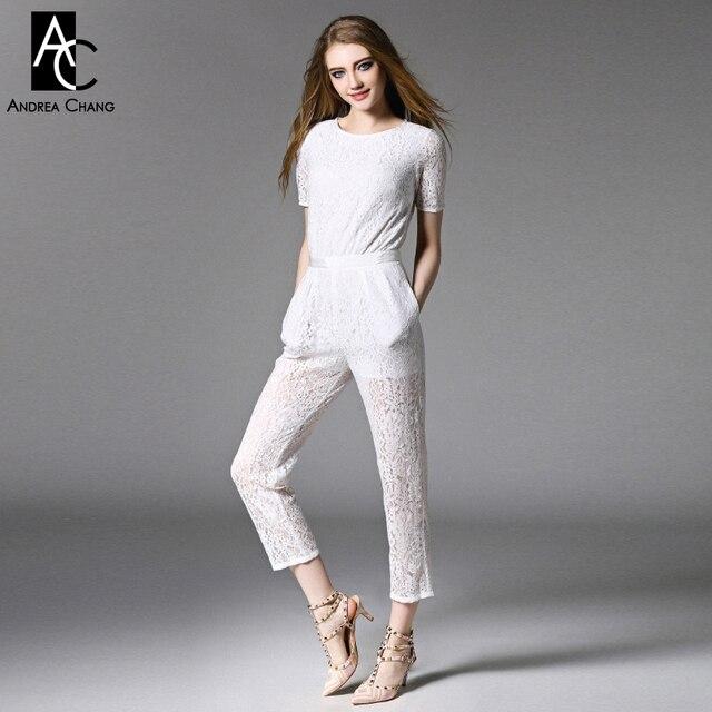size 40 9c136 3ab99 US $53.99 |Frühling sommer runway designer womens jumpsuit schwarz weiß  spitze jumpsuit reißverschluss taille aushöhlen zurück mode marke spitze ...