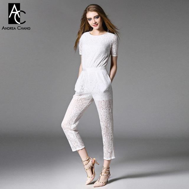 Primavera verão runway estilista mulheres macacão preto macacão branco de renda zipper cintura oco out back rendas marca de moda macacão