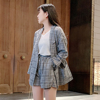 2019 Spring Summer Women Sets Plaid Blazers Coats Long Sleeve Loose Suit Jackets+Elastic Waist Shorts Two Piece Sets Suits Lady