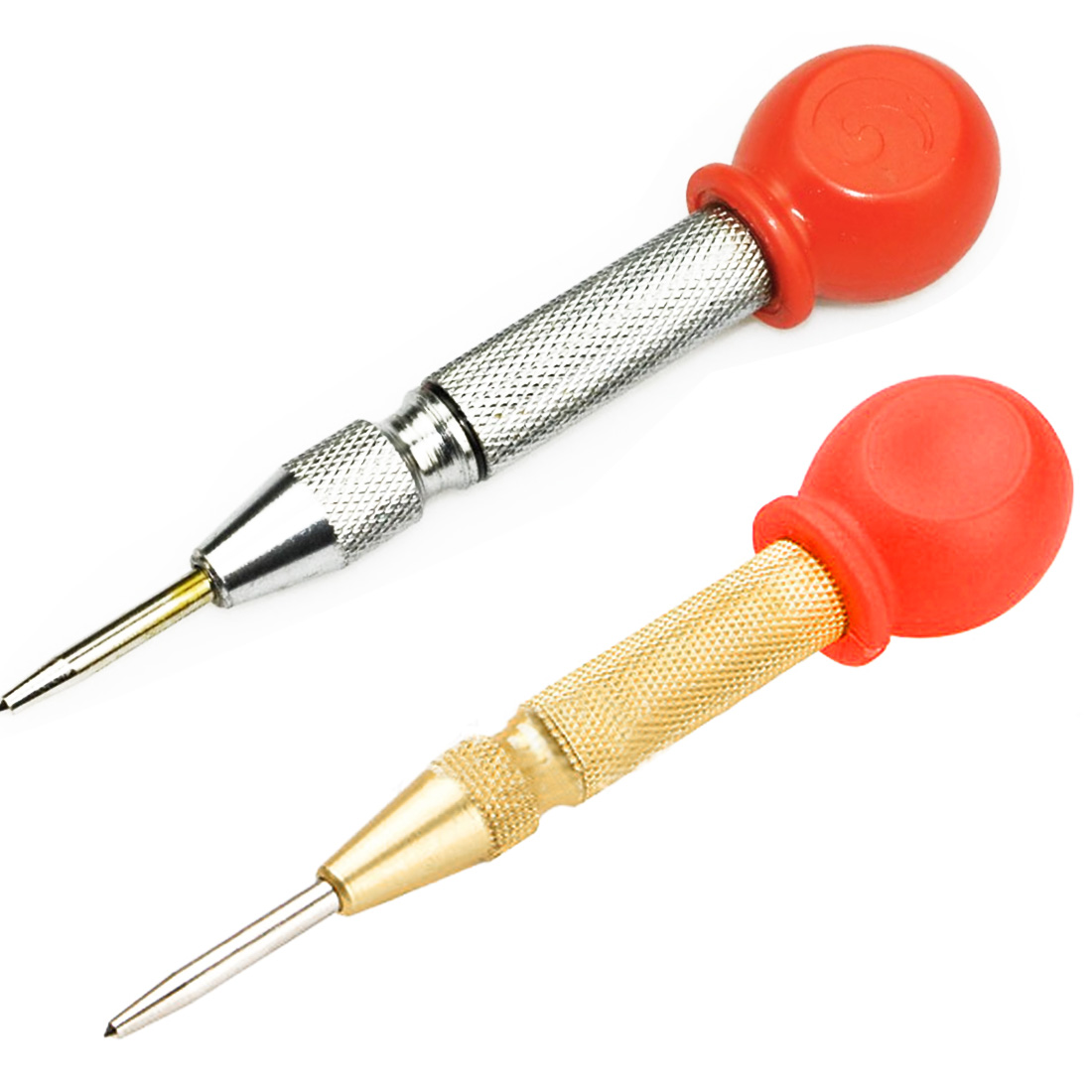 1pcs Automatic HSS Center Punch Spring Loaded Chrome Rivet Screw Auto Mark Hole Length 130mm Yellow And Silver