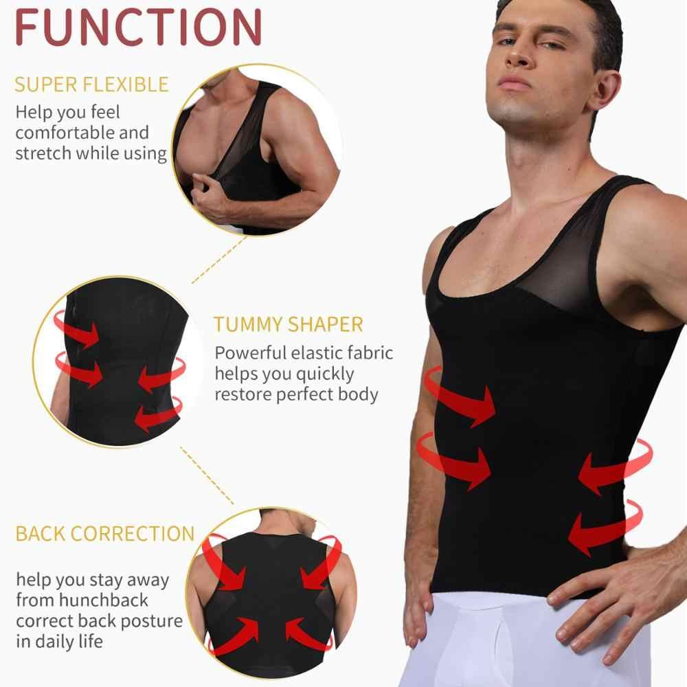 Pria Tubuh Pembentuk Perut Kontrol Pelangsing Korset Pinggang Pelatih Pria Pembentuk Perbaikan Postur Rompi Model Celana Dalam Korset