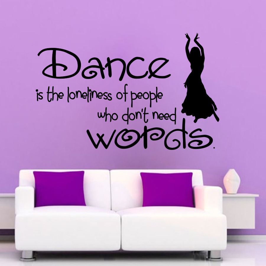 Dance words wall decal sexy girl dancer dancing mural wall for Phrases murales