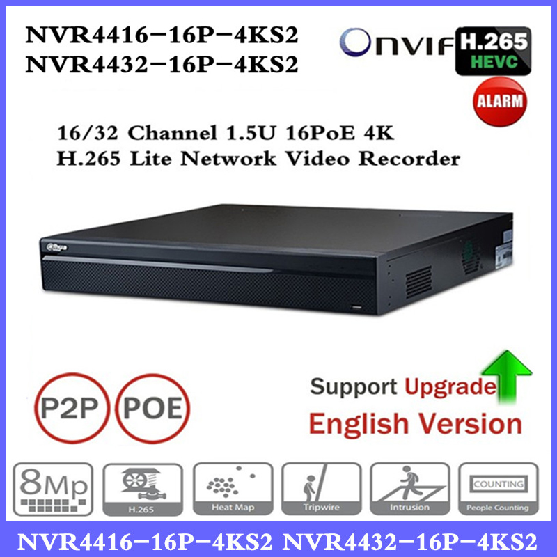DH PoE NVR NVR4416-16P-4KS2 with 16CH PoE Port support Two way Talk Third Party Camera Network Video Recorder 1.5U H.265 NVR цифровой видеорегистратор dahua 16 poe dh nvr4416 16p