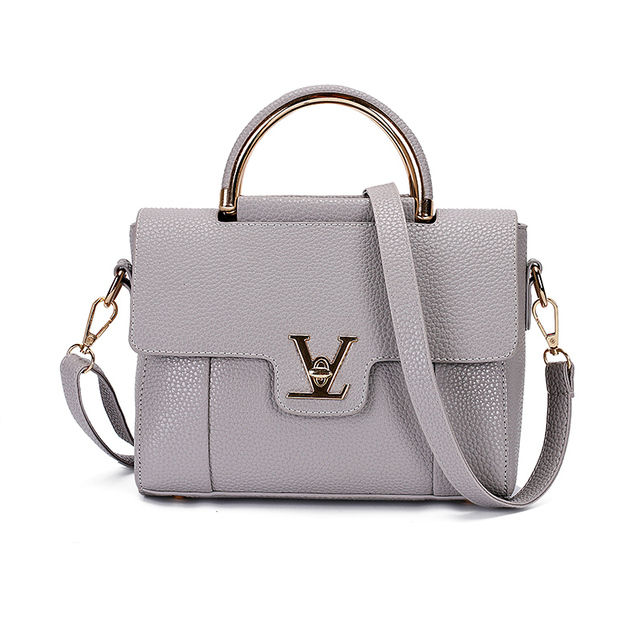 V Letters Saffiano Leather Women's Office Bag