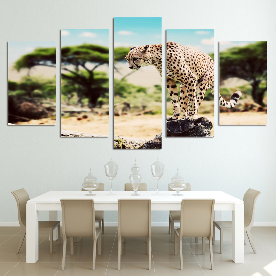 5 Pieces Printed Animal African Leopard Paintings Wall Art Canvas ...