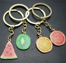 ФОТО new  fashion colorful fruit series lifelike effect alloy pendant key chain drop oil process keyring children's gift