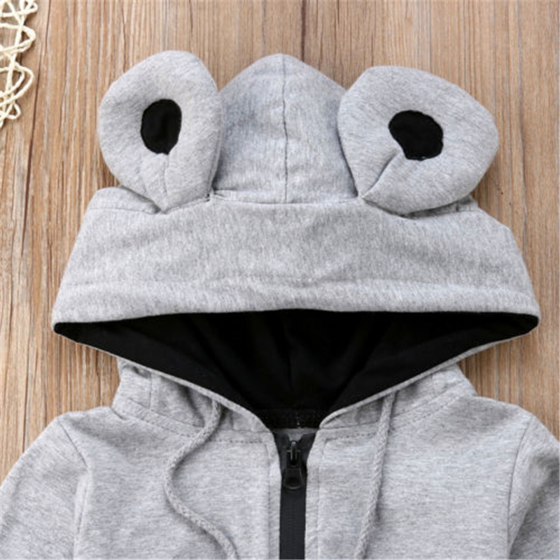 3D Animal Ears Hooded Cotton Jumpsuit Baby Boy 2018 Autumn Winter Zipper Long Romper Clothing Age For 0 3Y in Rompers from Mother Kids