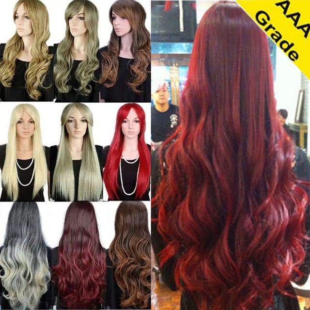 For Women Lady Costume Full Wig With Bangs Dip Dye Ombre Synthetic ...