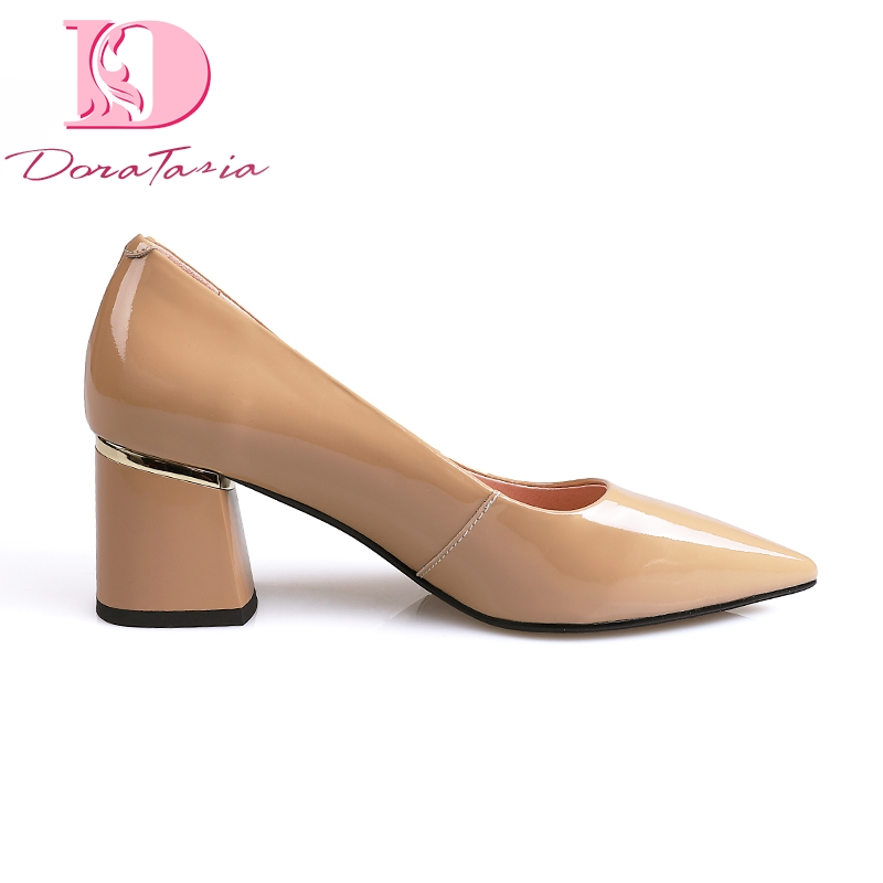 Doratasia 2019 Ins style sexy genuine leather classic pointed toe elegant women s Shoes chunky heels