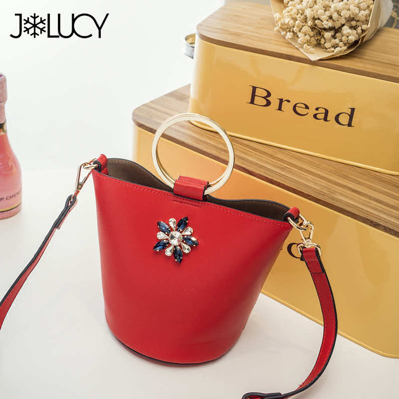 New Fashion Brand Design Luxury Flower Diamonds PU Leather Women Handbags Girls Ladies Shoulder Cross Body Bucket Bags