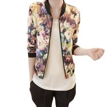 Новый стиль!!! 2017 женщины куртка весна короткие топы куртки женщины стенд воротник длинным рукавом молнии цветочные печатный куртка «пилот» a 5