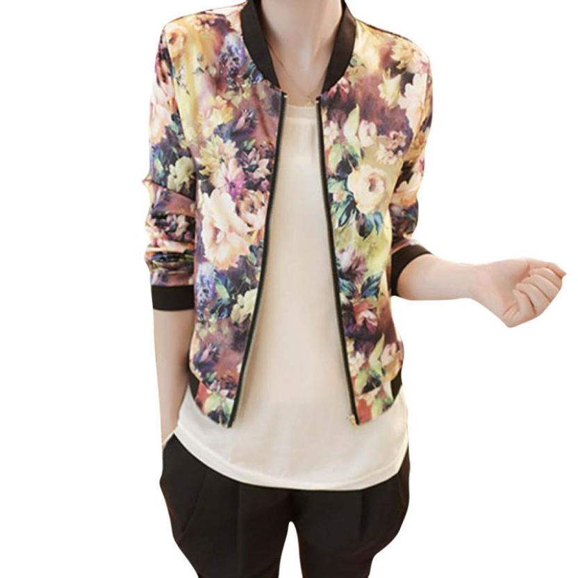 Women's jackets Global fashion Short Tops jackets Women Stand Collar Long Sleeve Zipper Floral Printed Bomber Jacket A 5 Autumn